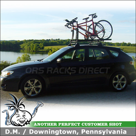 2008 Subaru Outback Sport Factory Roof Rack Mount Bike Rack using Thule 515 Prologue Pack