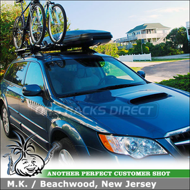 2008 Subaru Outback XT Roof Rack Cargo Box & Bike Racks using Thule 45050 CrossRoad Kit, 602 Ascent 1100 Box & 598 Criterium