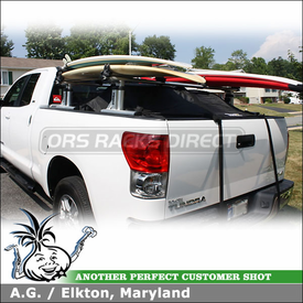 2008 Toyota Tundra Double Cab Surfboard Truck Rack using Thule 422XT Xsporter & 554XT Hang-Two Surfboard Racks