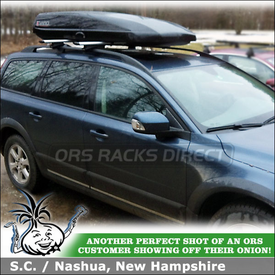 2008 Volvo XC70 Roof Rack Cargo Box System Using Thule 450R Foot Pack,  ARB53 AeroBlade