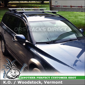 2008 Volvo XC70 Roof Rack for Factory Side Rails using Thule 450R Rapid CrossRoad Foot Pack and ARB53 Thule AeroBlade Load Bars
