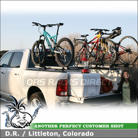 2009 Dodge Ram Truck Rack and Bike Racks with Inno RT101 Pickup Truckbed Rack & Thule 594XT SideArm Bicycle Carriers