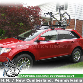 2009 Ford Edge Roof Rack, Bike Racks & Fairing using Thule 480 Traverse Foot Pack, 1530 Traverse Fit Kit, 517 Peloton & 872XT Fairing
