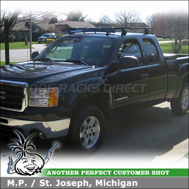2009 GMC Sierra Truck Cab Roof Rack And Fairing With Yakima Q Towers, Q118  Clips