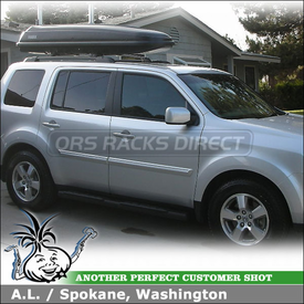 2009 Honda Pilot EX Cargo Roof Box for Factory Rack using Thule 668ES Frontier Luggage Box