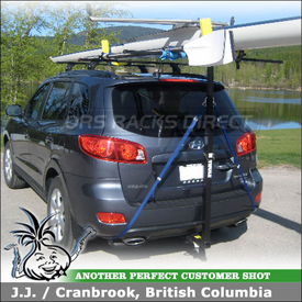 2009 Hyundai Santa Fe Roof Rack Rowing Scull Rack using Thule 460 Podium System (w/ 3024 Prodium Fit Kit) & Thule 997 GoalPost T-Bar
