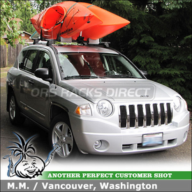 2009 Jeep Compass Roof Kayak Rack for 2 Kayaks using Malone Stax Pro Upright Kayak Rack