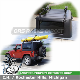 2009 Jeep Wrangler Sahara Roof Rack for Hard Top with Thule 542 Brackets, 387 Gutter High Foot & 963PRO Spare Tire Bike Rack