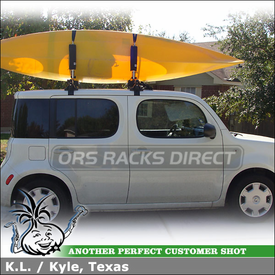2009 Nissan Cube Roof Rack Kayak Carrier using Inno INSU Stays (w/ K370 Fit Hooks & B147 Crossbars), INA450 2 Kayak Rack & INA262 Fairing