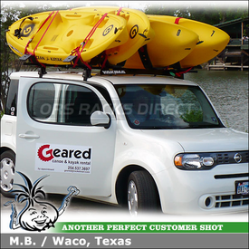 2009 Nissan Cube Roof Rack Kayak Racks using Yakima Q Towers, Q31 Clips & Malone Autoloader Kayak Carriers