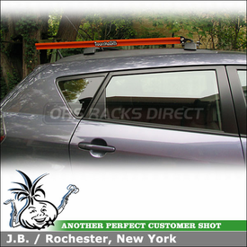 2009 Pontiac Vibe Factory Roof Rack Mount Bike Rack using RockyMounts Noose SL
