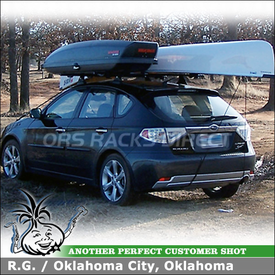 2009 Subaru Impreza Outback Sport Cargo Box and Canoe Rack Mounted to Roof Rack Cross Bars on Cartop Fixed-Points