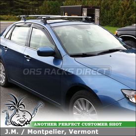 2009 Subaru Impreza Roof Rack for Factory Installed Fixed-Points using Whispbar Through Bars
