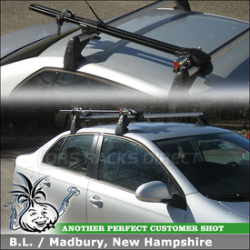 2009 VW Jetta Bike Rack with Yakima ForkLift Mounted to VW Rack Factory Bars