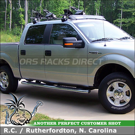 2010 Ford F150 Super Crew Cab Kayak Roof Rack using Thule 480 Traverse, 1521 Fit Kit, 830 Kayak Stacker, Yakima LandShark Saddles & 873XT Fairing