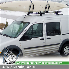 2010 Ford Transit Connect Van Kayak Roof Rack with Thule 460 Podium Foot Pack, 3021 Fit Kit & 835PRO Hull-a-Port Kayak Carriers