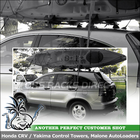 2010 Honda CRV with Malone Kayak Racks on Yakima Cross Bars for Preset Roof Points