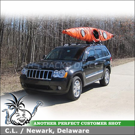 2010 Jeep Grand Cherokee Kayak Rack for Factory Cross Rails with Yakima Bowdown Kayak Carrier