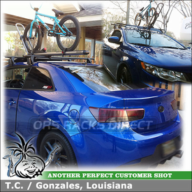 2010 Kia Forte Koup Car Rack Crossbars with Bike Rack and Wind Fairing Attached