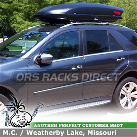 2010 Mercedes Benz ML350 4Matic Roof Rack Cargo Box using Whispbar S55 Rail Bar and SkyBox 16 Luggage Container