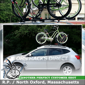 2010 Nissan Rogue Factory Rack Mount Bike Racks to Carry 2 Bicycles With Fenders using Yakima Front Loader