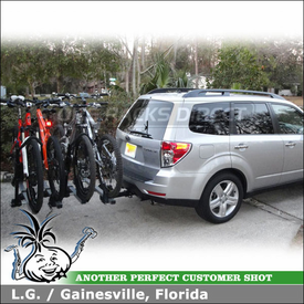 2010 Subaru Forester Hitch Bike Rack for 4 Bicycles with Thule 916XTR T2 & 918XTR T2 Add-On