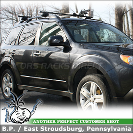 2010 Subaru Forester Roof Rack Bike Rack System with Inno IN-FR Stays for Side Rails & INA382 Upright Lock