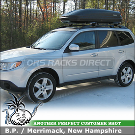 2010 Subaru Forester Roof Rack Cargo Box using Thule 450R Rapid Crossroad Car Rack & 604 Ascent 1600 Gear Box