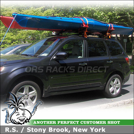 2010 Subaru Forester Roof Rack Kayak Racks using Thule 450 CrossRoad & Malone SeaWing Kayak Saddles