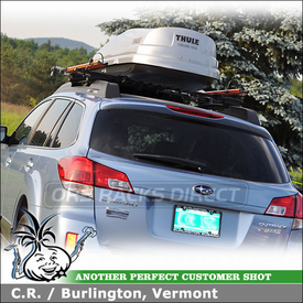 2010 Subaru Outback Bike Roof Rack Cargo Box System using Thule 450 Crossroad Car Rack, Thule 685XT Atlantis 1200 Box & RockyMounts PitchFork Bike Racks