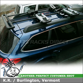 2010 Subaru Outback Kayak Racks for Factory Cross Bars using Yakima ShowBoat Kayak Rollers, Yakima BowDown J-Cradles & Thule 883 Glide & Set Saddles