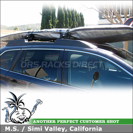 2010 Subaru Outback Surfboard Roof Rack using Inno INA744 BoardLocker Surfboard Rack