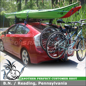 2010 Toyota Prius Kayak Roof Rack & Hitch Bike Rack using Thule 480 Traverse, 1566 Traverse Fit Kit Clips, 887XT, Yakima Mako Aero, HullyRoller, Saris T-Bones