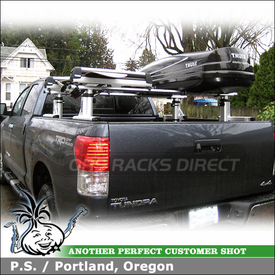 2010 Toyota Tundra Truck Rack with Cargo Box & Ski-Snowboard Rack using Thule 422XT Xsporter, 685BXT Atlantis 1200 & 91726 Pull Top
