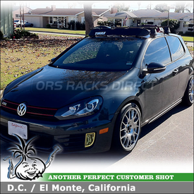 2010 VW GTI Roof Rack Wind Fairing System using Thule 480 Traverse, 1323 Fit Kit & 872XT Wind Deflector Shield