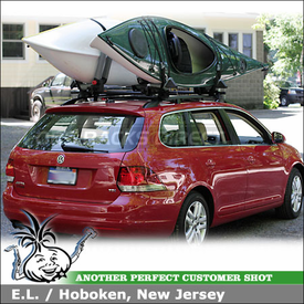 2010 VW Jetta TDI Wagon Roof Rack Kayak Racks using Yakima RailGrab Towers & Yakima BowDown J-Cradles