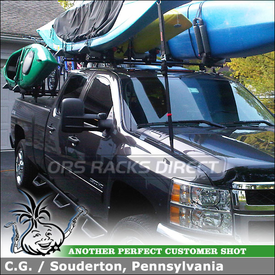 2011 Chevrolet Silverado 2500HD with Kayak and Bike Holders on Roof Rack Tracks for Truck Bed and Cab
