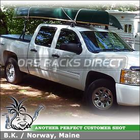 "2011 Chevy Silverado Pickup Truck Cab Roof and Bed Rails Rack for Canoe & Kayak using Yakima Outdoorsman 300 & Q Tower Half Pack (w/ Q118 Clips & 66"" Crossbar)"