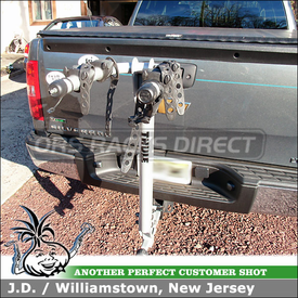 "2011 Chevy Silverado Trailer Hitch Bike Rack using Thule 970XT Helium 2 Bike Hitch Rack for 2"" and 1-1/4"" Hitches"