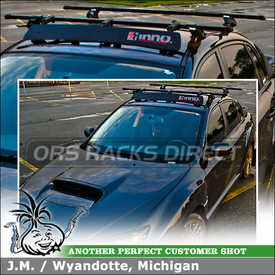 2011 Subaru Impreza WRX Roof Rack Cross Bars Fairing System using Inno IN-XR Stays, TR127 Fit Hooks, B145 Crossbars & INA260 Wind Fairing