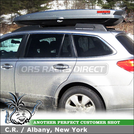 2011 Subaru Outback Cargo Roof Box for Skis & Snowboards using Yakima SkyBox LoPro Cargo Carrier Box