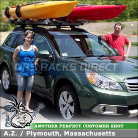2011 Subaru Outback Factory Side Rails Roof Rack Crossbars with Thule Hullavator Lift Assist Kayak Cradles