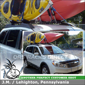 2011 Subaru Outback Kayak Racks for Factory Rack Crossbars using Thule 835PRO Hull-a-Port Kayak J-Cradles