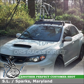 2011 Subaru WRX Bike Rack and Wind Fairing for Factory OEM Cross Bars using Inno INA381 Fork Bike Rack, INA261 Noise Deflector Shield