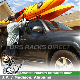 2011 Toyota 4Runner SR5 Aerodynamic Cross Bars Kayak Rack Using Whispbar S17 Through Bar, K328 Fitting Kit, Thule 835 PRO Hull-a-Port