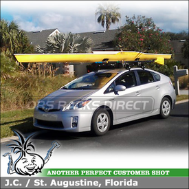 2011 Toyota Prius Car Roof Rowing Shell Rack using Thule 887XT SlipStream Kayak Roller-Saddles and 480 Traverse System