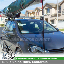 2011 VW Golf Roof Rack Kayak J-Cradles using Thule 480R Rapid Traverse Car Rack w/ 1323 Fit Kit & Yakima BowDown Kayak Rack
