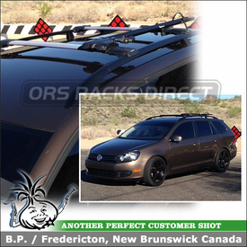 2011 VW Jetta Sportwagen Roof Rack Bike Mount using Whispbar S53 Rail Bar System & RockyMounts TieRod Bike Rack