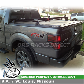 "2012 Ford F150 SuperCrew Truck Bed Rail Tracks & Rack Cross Bars + 2 Bike Racks using Yakima 54"" Tracks, Control Towers & CopperHeads"