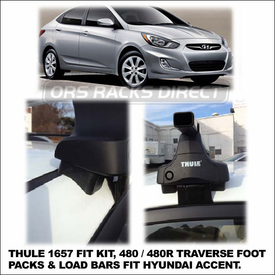 2012 Hyundai Accent Roof Rack using Thule 480 Traverse (includes Foot Pack, 1657 Fit Kit & LB50 Bars)